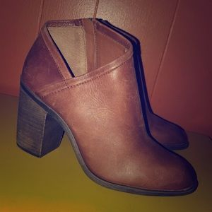 Lucky Brand Salza Brown Leather Ankle Booties